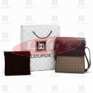 LLH Chessboard Canvas With Dark Leather Trim Designer Messenge Bag