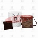 LLH Fortune Canvas With Brown Leather Trim Designer Messenge Bag