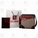 LLH Fortune Canvas With Dark Leather Trim Designer Messenge Bag