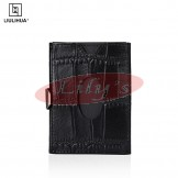 LLH - LiuLiHua Black Scaly PU Leather Tri-Fold Unisex Wallet - Circle Window
