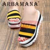 Beautiful Fashion Beach Slippers Great Gift Sandals Shoes for Her | Yellow & Black