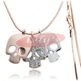 STYLISH!! Golden & Silver little skull with crystal - Great Gift Idea