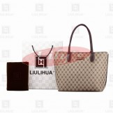 LLH Women's Fortune Canvas With Dark Leather Handle Designer Tote