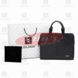 LLH Black Leather Designer Briefcase