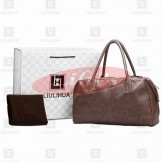 LLH Brown Leather Designer Weekend Bag