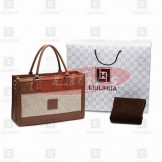 LLH Tatami With Dark Leather Trim Designer Hangbag