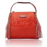Cute Lady's Orange Fashion Leather Shoulder Bag / Tote Handbag