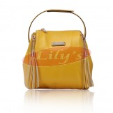 Cute Lady's Yellow Fashion Leather Shoulder Bag / Tote Handbag