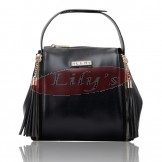 Cute Lady's Black Fashion Leather Shoulder Bag / Tote Handbag
