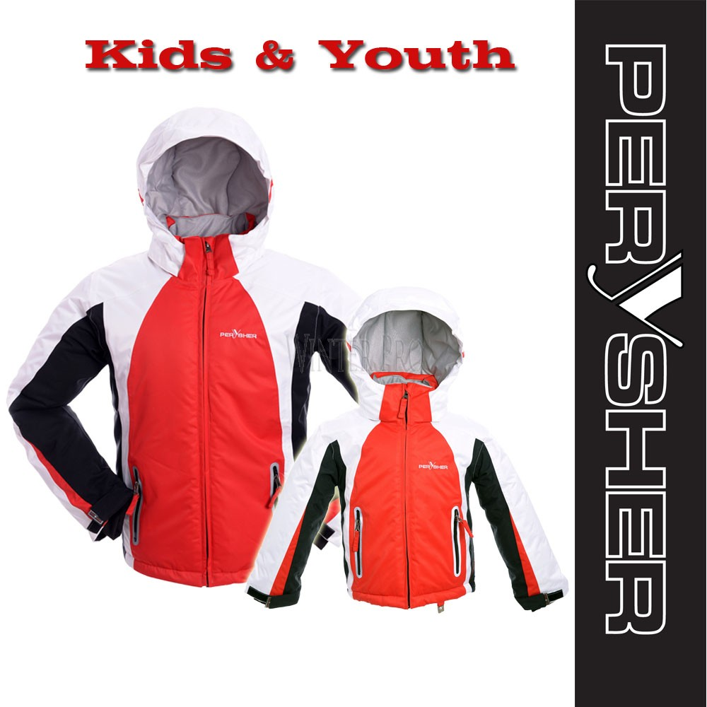 PERYSHER Extra Warm Red Snowboard Ski Jacket for Kids & Youth