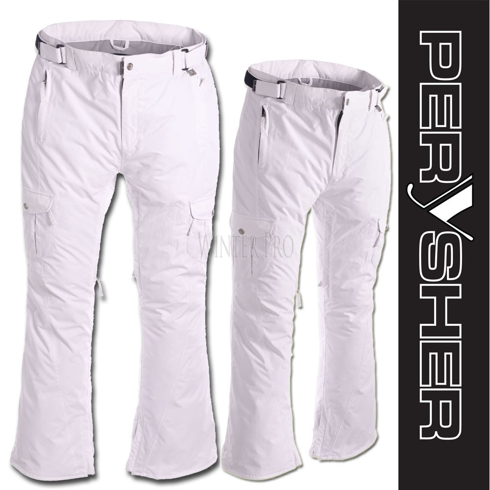 PERYSHER  LIBERTY Womens White Ski Pants / Snowboard Pants for Ladies