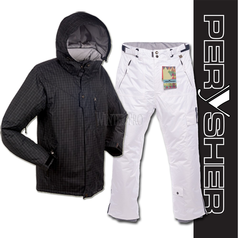 PERYSHER Dimension Mens Ski Board Jacket & Pants Suit | B&W Cool Combo Set