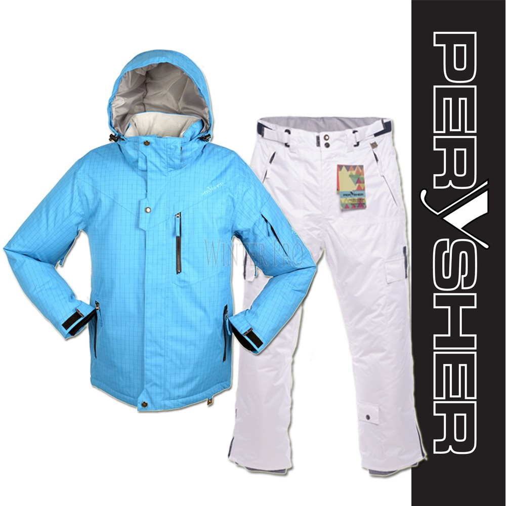PERYSHER Mens Snowboard / Ski Suit: Dimension Jacket & Pants | Royal Blue & White Set