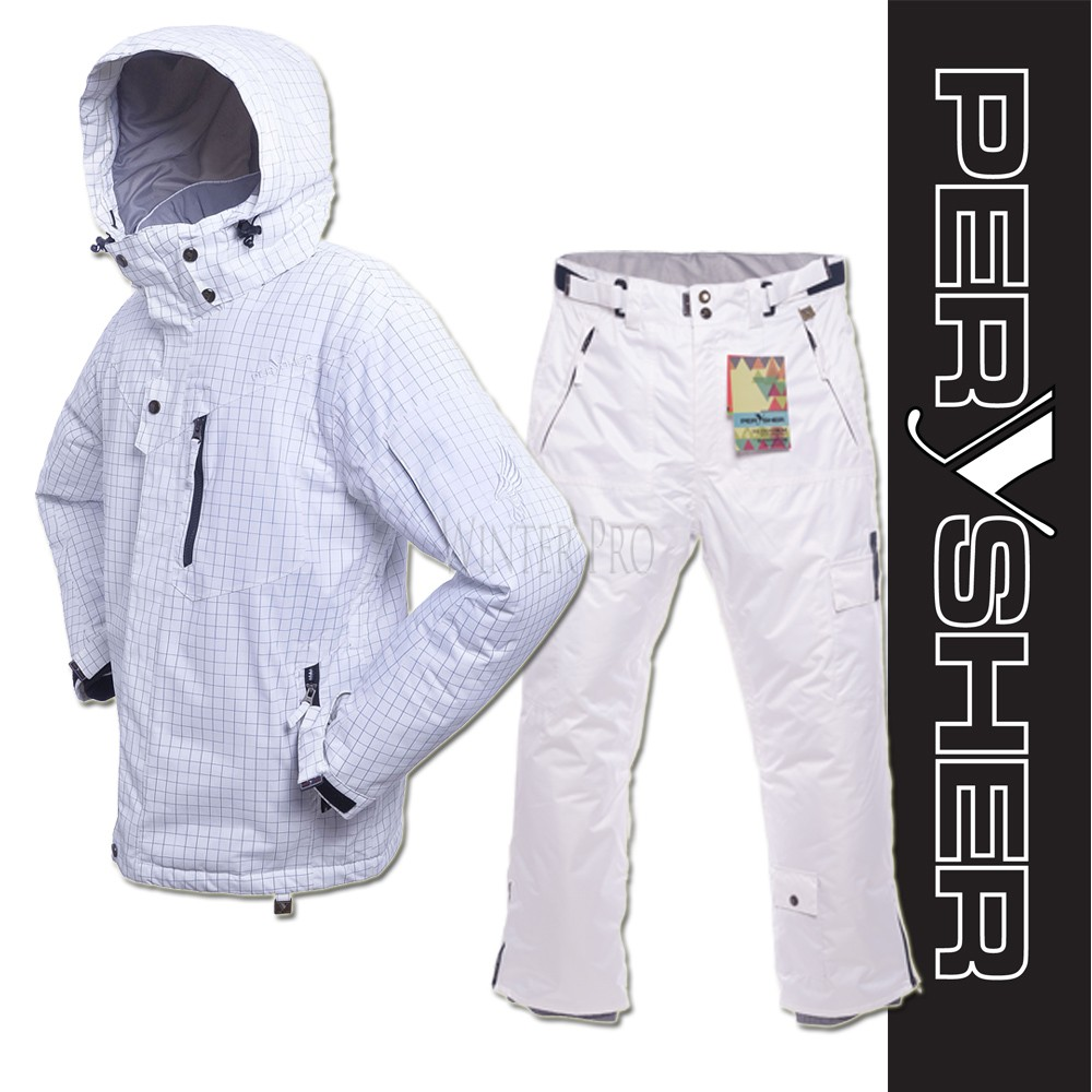 PERYSHER Dimension Mens Snowboard / Ski Jacket & Pants | Cool White Combo Suit