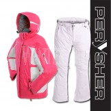 PERYSHER Womens Snowboard / Ski Suit: Racer V2 Jacket & Pants (Pink & White)