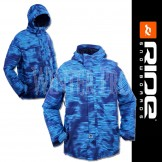 RIDE Blue GATEWOOD Snowboard Ski Jacket Striped Grime Print for Men