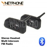 2 x V-NetPhone V4 Bluetooth Helmet FM Stereo Headset Wireless Multi Intercom